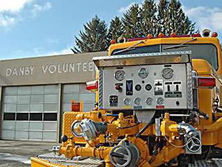 Bright yellow pumper at the Danby Fire Hall